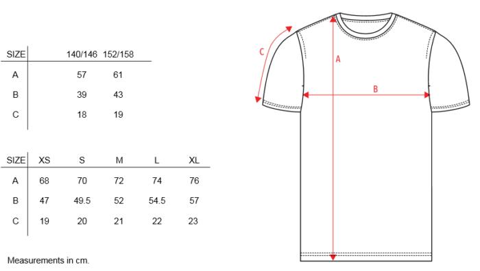 Maattabel stuktv t-shirt